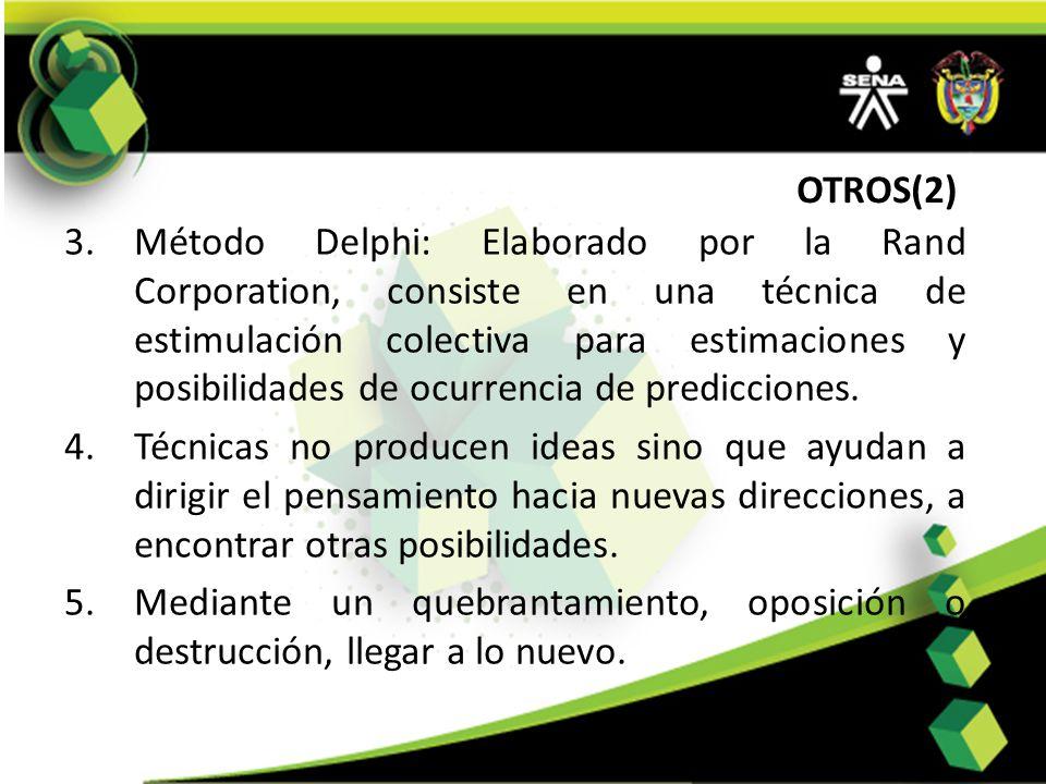 OTROS(2) 3.Método Delphi: Elaborado por la Rand Corporation, consiste en una técnica de estimulación colectiva para estimaciones y posibilidades de oc