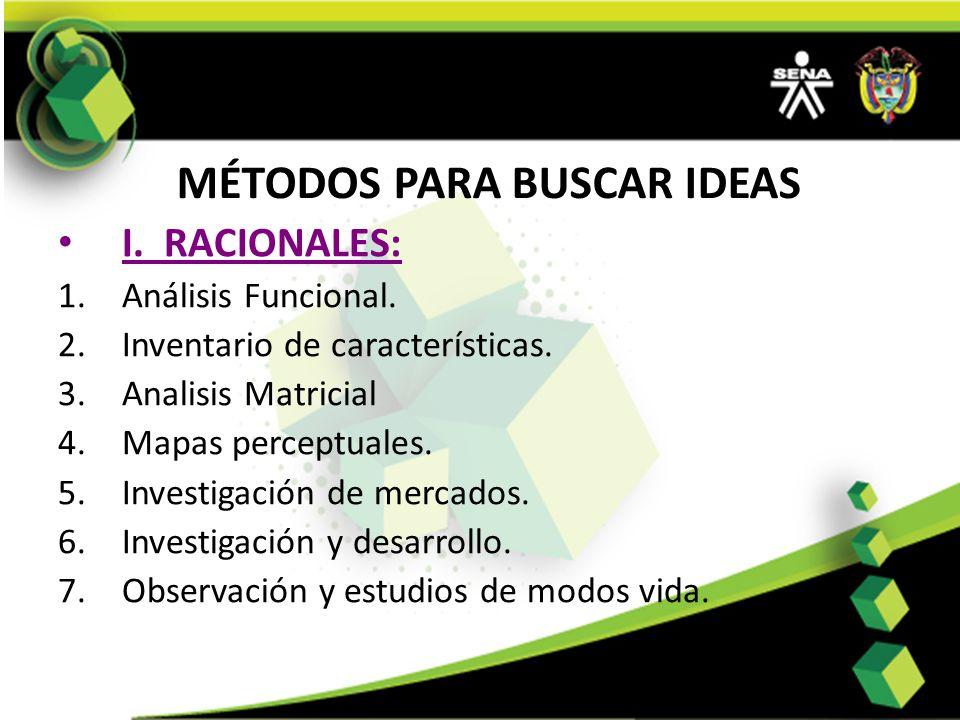 MÉTODOS PARA BUSCAR IDEAS I. RACIONALES: 1.Análisis Funcional. 2.Inventario de características. 3.Analisis Matricial 4.Mapas perceptuales. 5.Investiga