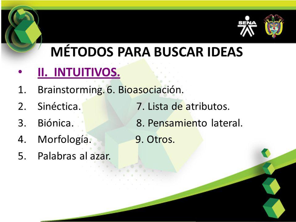 MÉTODOS PARA BUSCAR IDEAS II. INTUITIVOS. 1.Brainstorming.6. Bioasociación. 2.Sinéctica.7. Lista de atributos. 3.Biónica. 8. Pensamiento lateral. 4.Mo