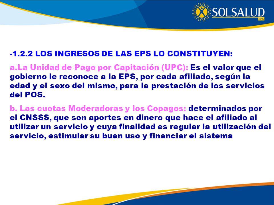 -1.2.2 LOS INGRESOS DE LAS EPS LO CONSTITUYEN: a.La Unidad de Pago por Capitación (UPC): Es el valor que el gobierno le reconoce a la EPS, por cada af