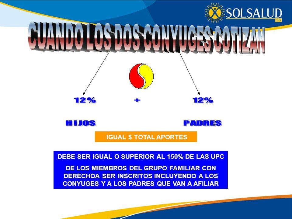 IGUAL $ TOTAL APORTES DEBE SER IGUAL O SUPERIOR AL 150% DE LAS UPC DE LOS MIEMBROS DEL GRUPO FAMILIAR CON DERECHOA SER INSCRITOS INCLUYENDO A LOS CONY