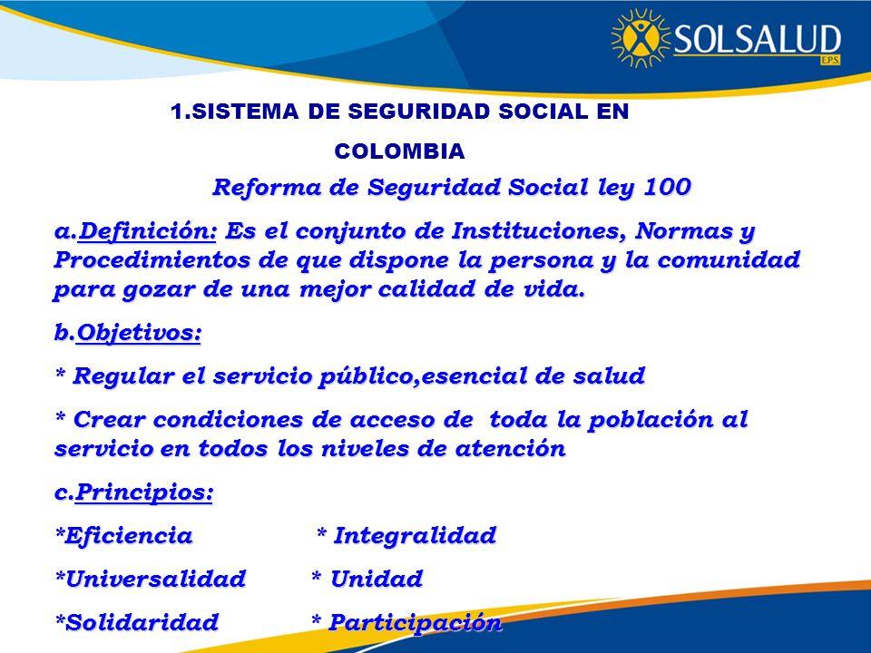 Reforma de Seguridad Social ley 100 a.Definición: Es el conjunto de Instituciones, Normas y Procedimientos de que dispone la persona y la comunidad pa