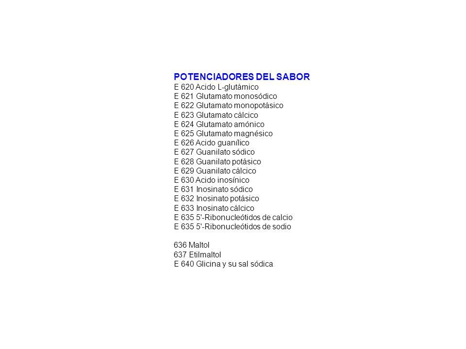 POTENCIADORES DEL SABOR E 620 Acido L-glutámico E 621 Glutamato monosódico E 622 Glutamato monopotásico E 623 Glutamato cálcico E 624 Glutamato amónic