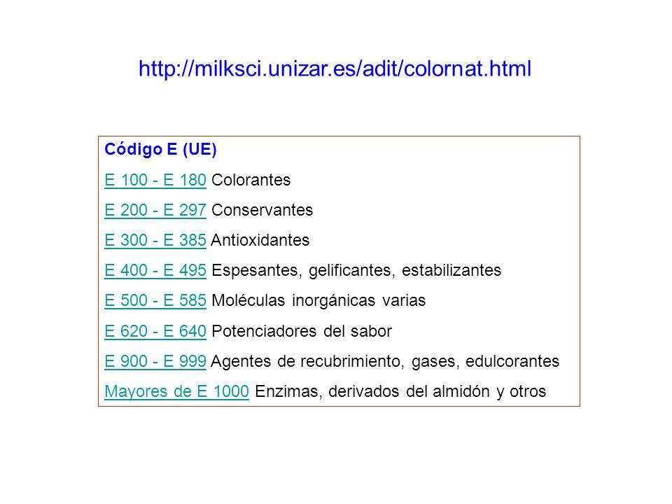 http://milksci.unizar.es/adit/colornat.html Código E (UE) E 100 - E 180E 100 - E 180 Colorantes E 200 - E 297E 200 - E 297 Conservantes E 300 - E 385E