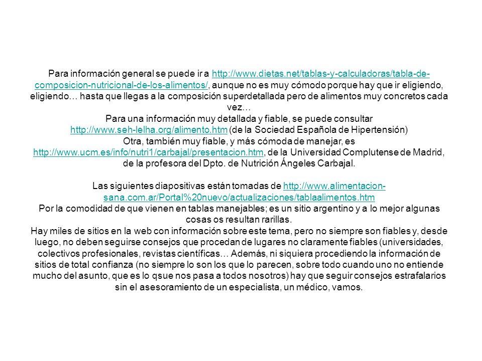 Para información general se puede ir a http://www.dietas.net/tablas-y-calculadoras/tabla-de- composicion-nutricional-de-los-alimentos/, aunque no es m