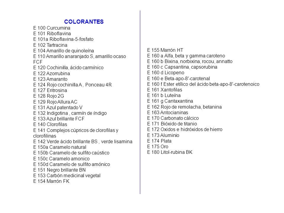 COLORANTES E 100 Curcumina E 101 Riboflavina E 101a Riboflavina-5-fosfato E 102 Tartracina E 104 Amarillo de quinoleína E 110 Amarillo anaranjado S, a