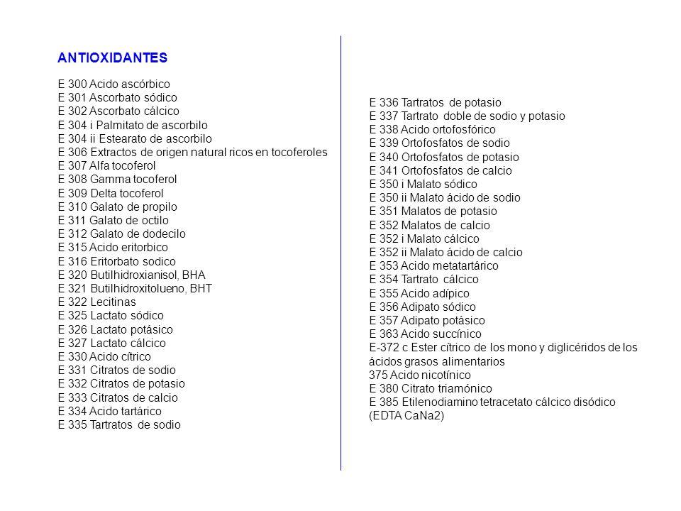 ANTIOXIDANTES E 300 Acido ascórbico E 301 Ascorbato sódico E 302 Ascorbato cálcico E 304 i Palmitato de ascorbilo E 304 ii Estearato de ascorbilo E 30