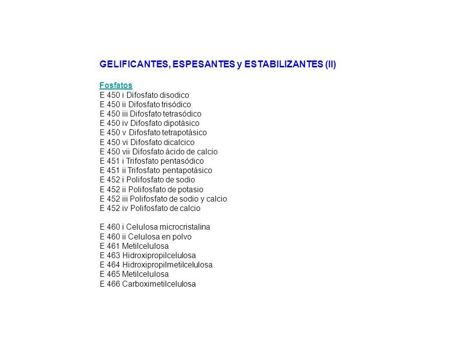 GELIFICANTES, ESPESANTES y ESTABILIZANTES (II) Fosfatos E 450 i Difosfato disodico E 450 ii Difosfato trisódico E 450 iii Difosfato tetrasódico E 450