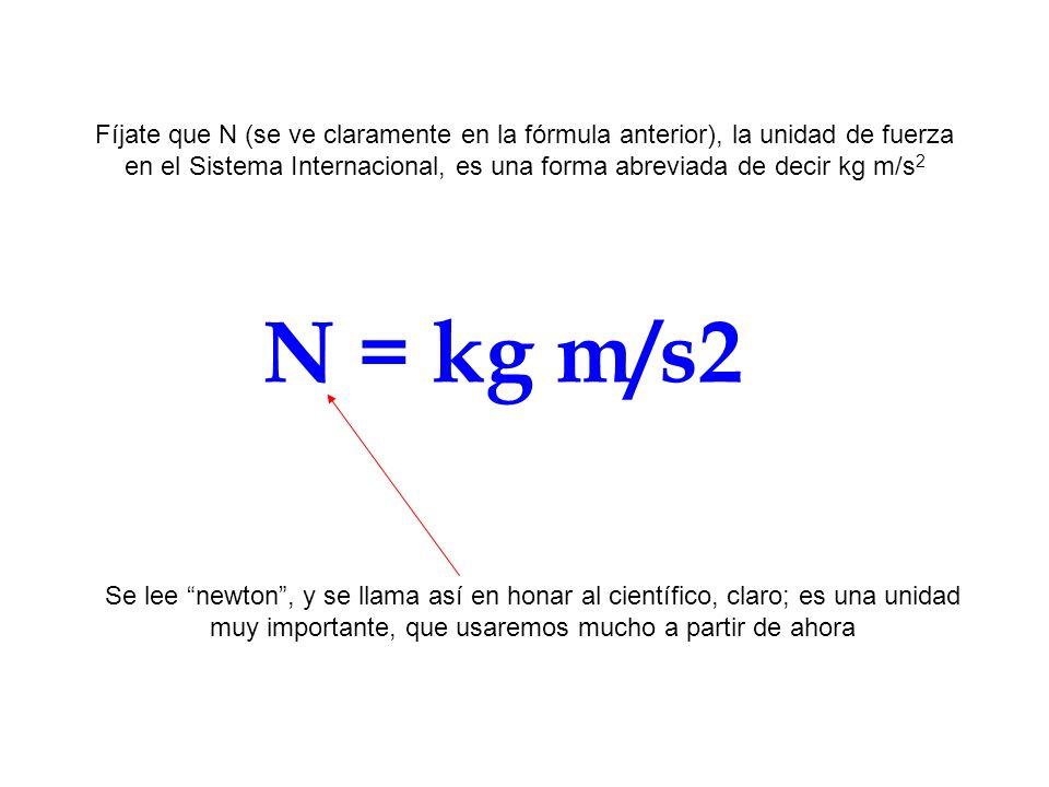 N = kg m/s2 Fíjate que N (se ve claramente en la fórmula anterior), la unidad de fuerza en el Sistema Internacional, es una forma abreviada de decir k