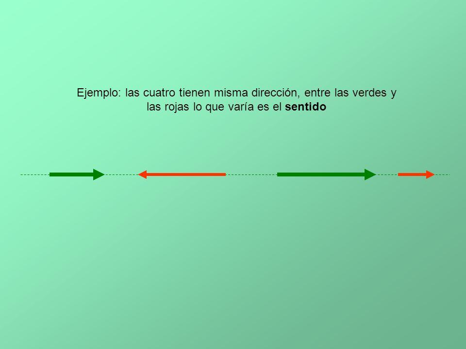 Ejemplo: las cuatro tienen misma dirección, entre las verdes y las rojas lo que varía es el sentido