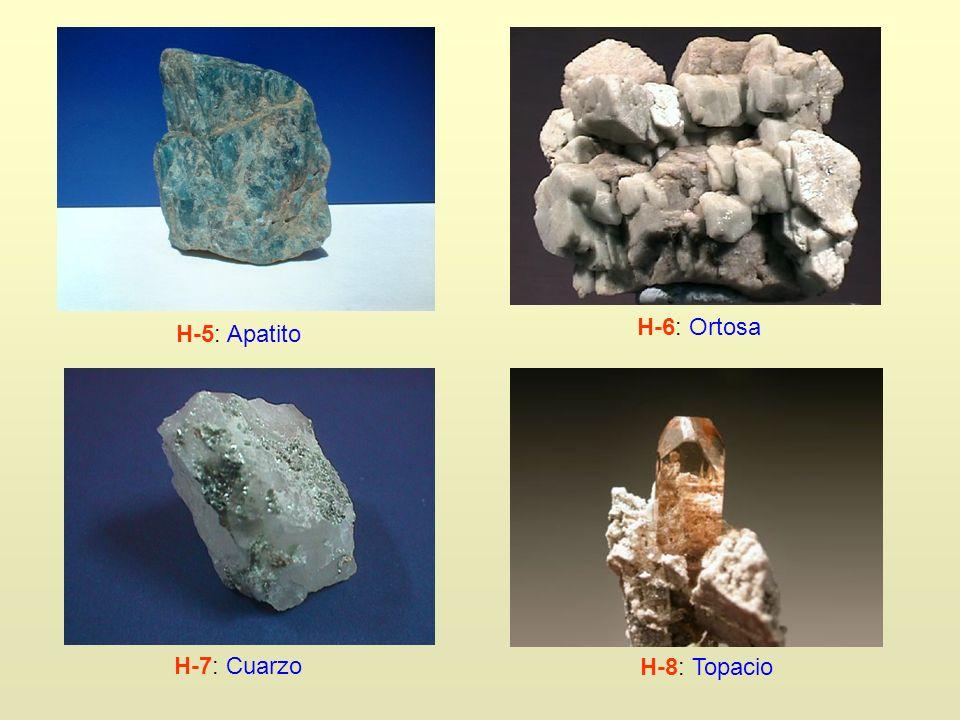 H-5: Apatito H-6: Ortosa H-7: Cuarzo H-8: Topacio