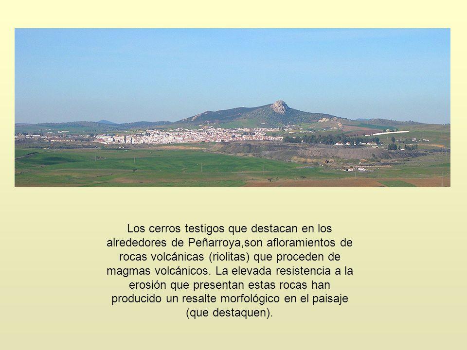 Los cerros testigos que destacan en los alrededores de Peñarroya,son afloramientos de rocas volcánicas (riolitas) que proceden de magmas volcánicos. L