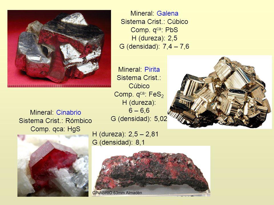 Mineral: Galena Sistema Crist.: Cúbico Comp. q ca : PbS H (dureza): 2,5 G (densidad): 7,4 – 7,6 Mineral: Cinabrio Sistema Crist.: Rómbico Comp. qca: H