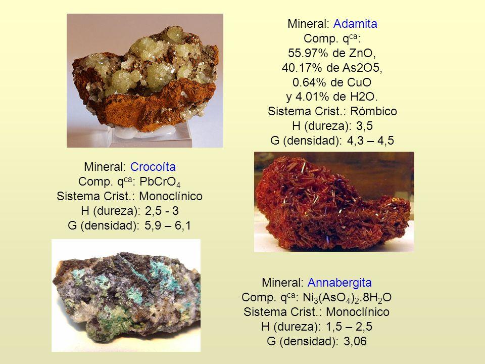 Mineral: Adamita Comp. q ca : 55.97% de ZnO, 40.17% de As2O5, 0.64% de CuO y 4.01% de H2O. Sistema Crist.: Rómbico H (dureza): 3,5 G (densidad): 4,3 –