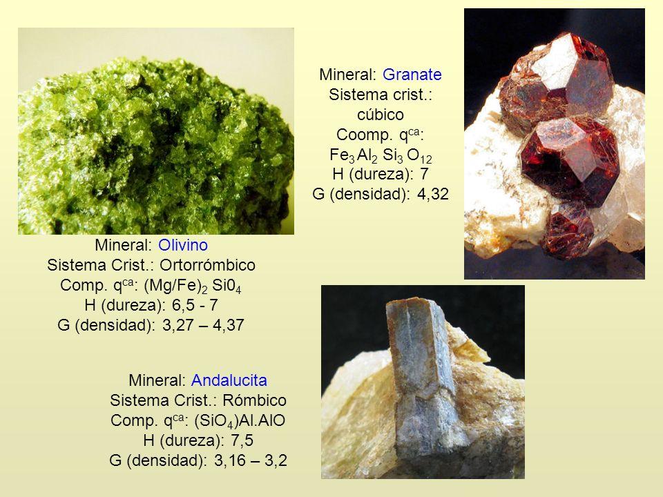 Mineral: Olivino Sistema Crist.: Ortorrómbico Comp. q ca : (Mg/Fe) 2 Si0 4 H (dureza): 6,5 - 7 G (densidad): 3,27 – 4,37 Mineral: Granate Sistema cris