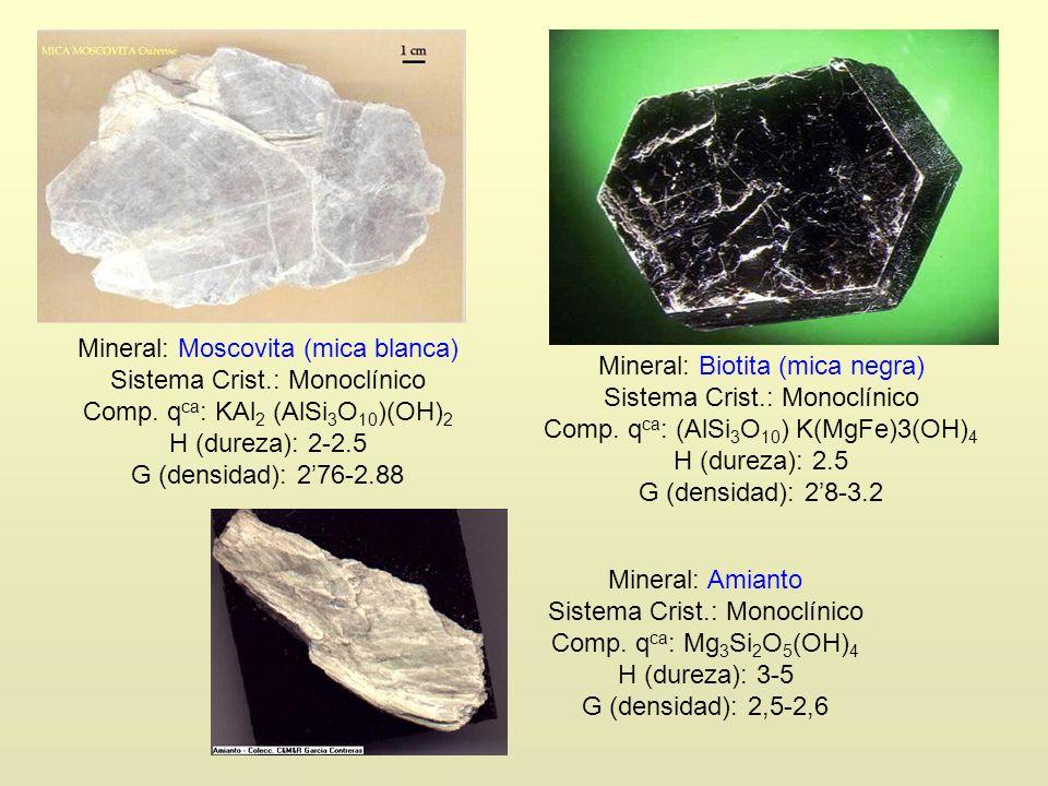 Mineral: Moscovita (mica blanca) Sistema Crist.: Monoclínico Comp. q ca : KAl 2 (AlSi 3 O 10 )(OH) 2 H (dureza): 2-2.5 G (densidad): 276-2.88 Mineral: