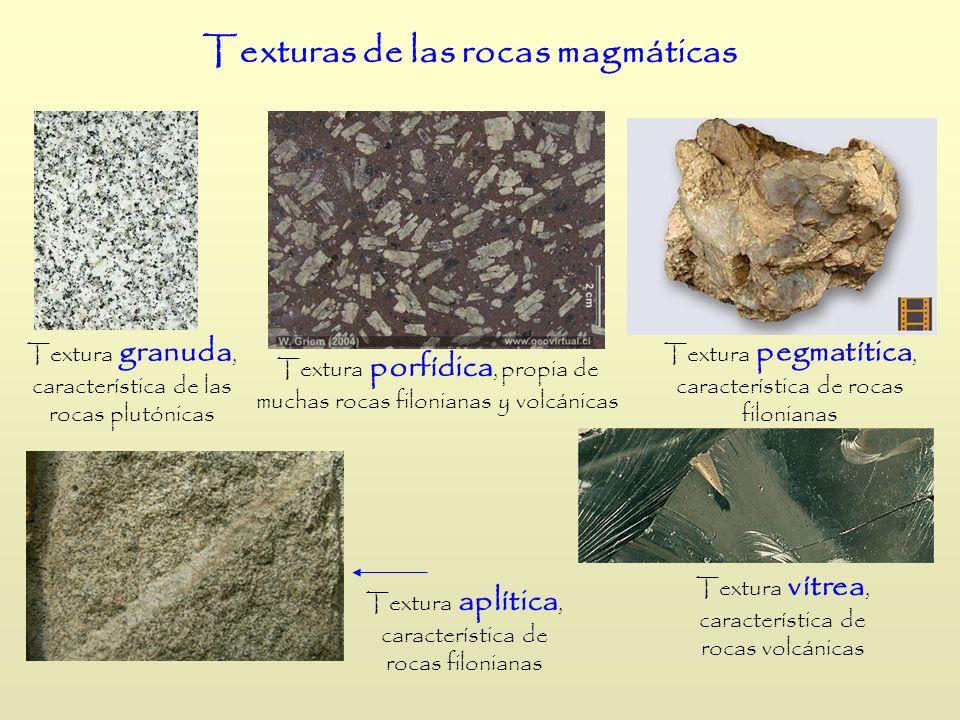 Texturas de las rocas magmáticas Textura granuda, característica de las rocas plutónicas Textura porfídica, propia de muchas rocas filonianas y volcán