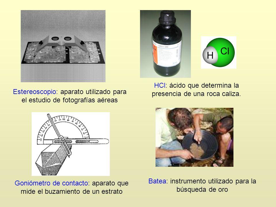 Estereoscopio: aparato utilizado para el estudio de fotografías aéreas HCl: ácido que determina la presencia de una roca caliza. Goniómetro de contact