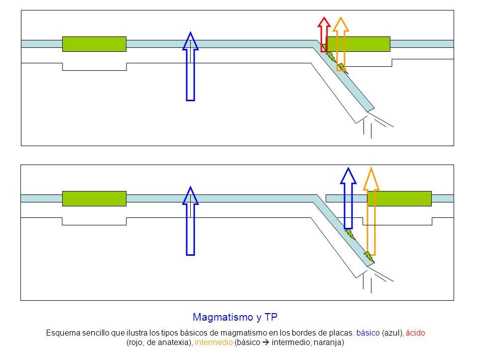 Magmatismo y TP Esquema sencillo que ilustra los tipos básicos de magmatismo en los bordes de placas: básico (azul), ácido (rojo, de anatexia), interm