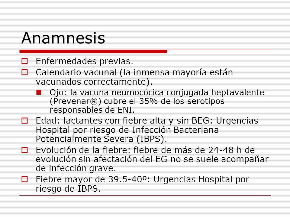 Anamnesis Enfermedades previas. Calendario vacunal (la inmensa mayoría están vacunados correctamente). Ojo: la vacuna neumocócica conjugada heptavalen