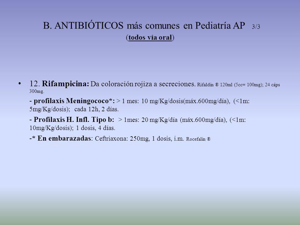B. ANTIBIÓTICOS más comunes en Pediatría AP 3/3 (todos vía oral) 12. Rifampicina: Da coloración rojiza a secreciones. Rifaldín ® 120ml (5cc= 100mg); 2