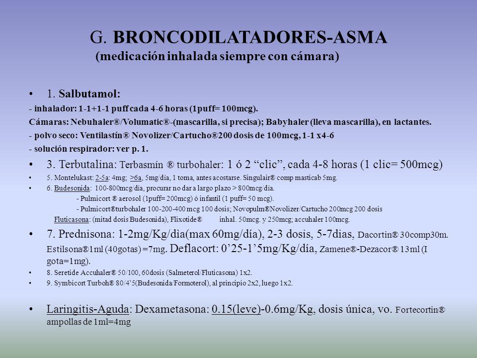 G. BRONCODILATADORES-ASMA (medicación inhalada siempre con cámara) 1. Salbutamol: - inhalador: 1-1+1-1 puff cada 4-6 horas (1puff= 100mcg). Cámaras: N