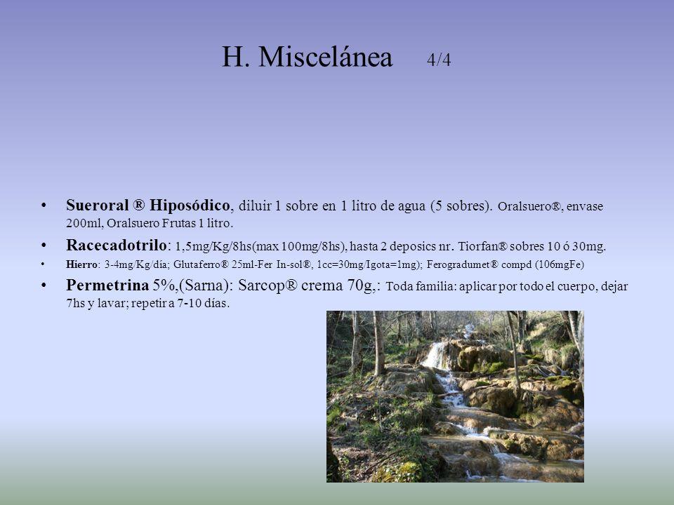 H. Miscelánea 4/4 Sueroral ® Hiposódico, diluir 1 sobre en 1 litro de agua (5 sobres). Oralsuero®, envase 200ml, Oralsuero Frutas 1 litro. Racecadotri