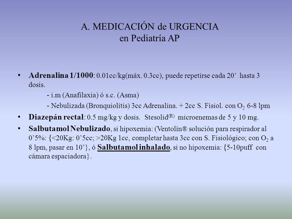 A. MEDICACIÓN de URGENCIA en Pediatría AP Adrenalina 1/1000: 0.01cc/kg(máx. 0.3cc), puede repetirse cada 20 hasta 3 dosis. - i.m (Anafilaxia) ó s.c. (