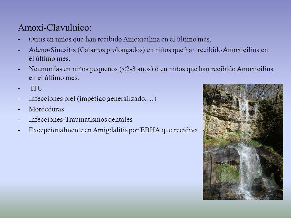Amoxi-Clavulnico: -Otitis en niños que han recibido Amoxicilina en el último mes. -Adeno-Sinusitis (Catarros prolongados) en niños que han recibido Am