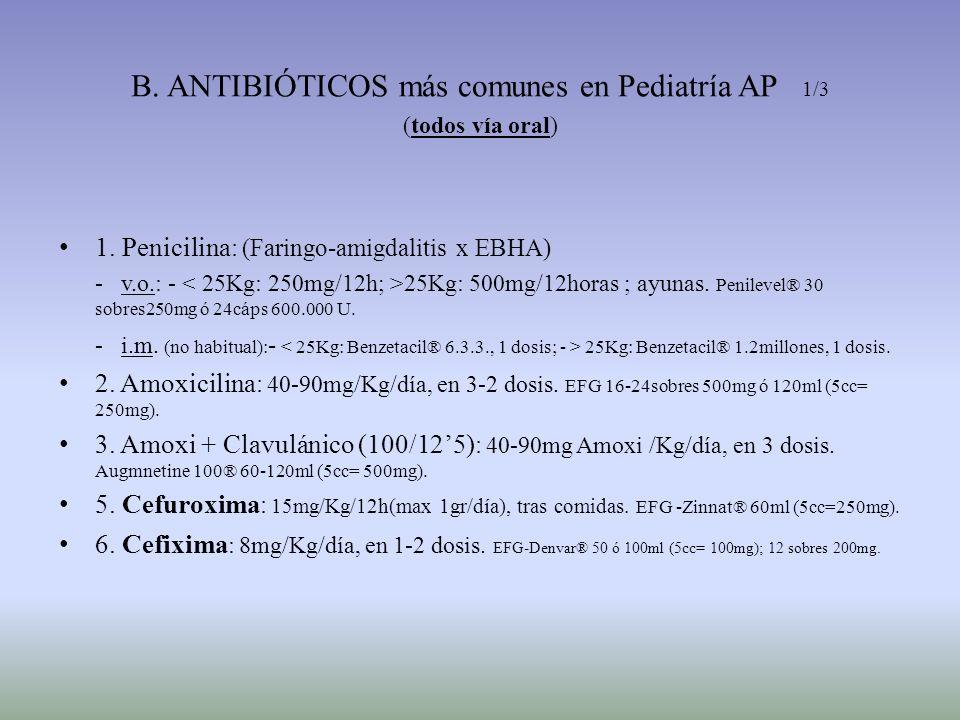 B. ANTIBIÓTICOS más comunes en Pediatría AP 1/3 (todos vía oral) 1. Penicilina : (Faringo-amigdalitis x EBHA) - v.o.: - 25Kg: 500mg/12horas ; ayunas.