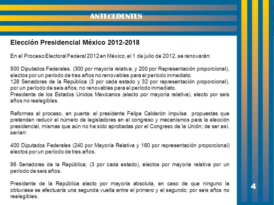 4 Elección Presidencial México 2012-2018 En el Proceso Electoral Federal 2012 en México, el 1 de julio de 2012, se renovarán: 500 Diputados Federales.