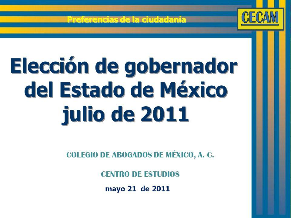 mayo 21 de 2011 Preferencias de la ciudadanía COLEGIO DE ABOGADOS DE MÉXICO, A. C. CENTRO DE ESTUDIOS
