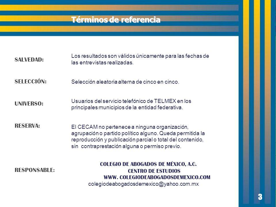 3 SALVEDAD: SELECCIÓN: UNIVERSO: RESERVA: RESPONSABLE : Los resultados son válidos únicamente para las fechas de las entrevistas realizadas.