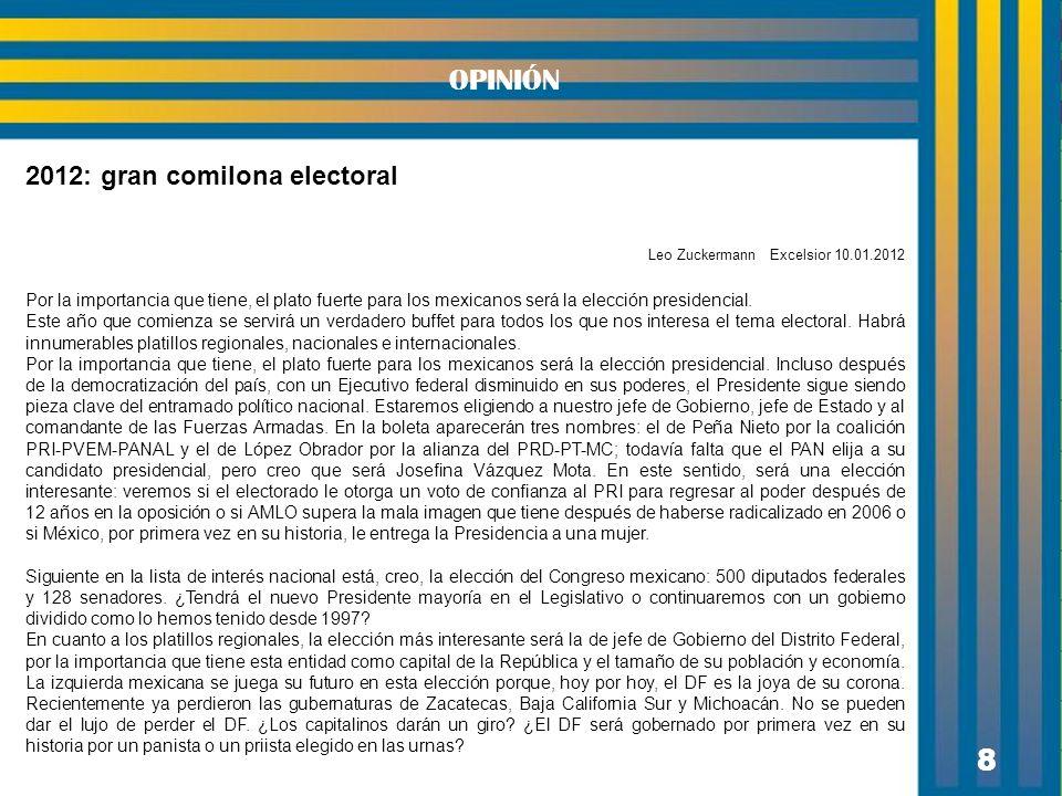 8 OPINIÓN 2012: gran comilona electoral Leo Zuckermann Excelsior 10.01.2012 Por la importancia que tiene, el plato fuerte para los mexicanos será la e