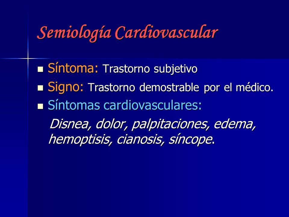 Semiología Cardiovascular Síntoma: Trastorno subjetivo Síntoma: Trastorno subjetivo Signo: Trastorno demostrable por el médico. Signo: Trastorno demos