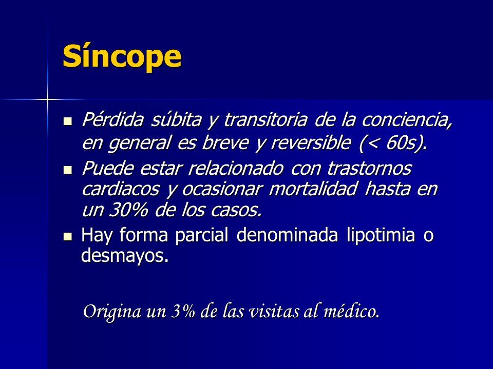 Síncope Pérdida súbita y transitoria de la conciencia, en general es breve y reversible (< 60s). Puede estar relacionado con trastornos cardiacos y oc