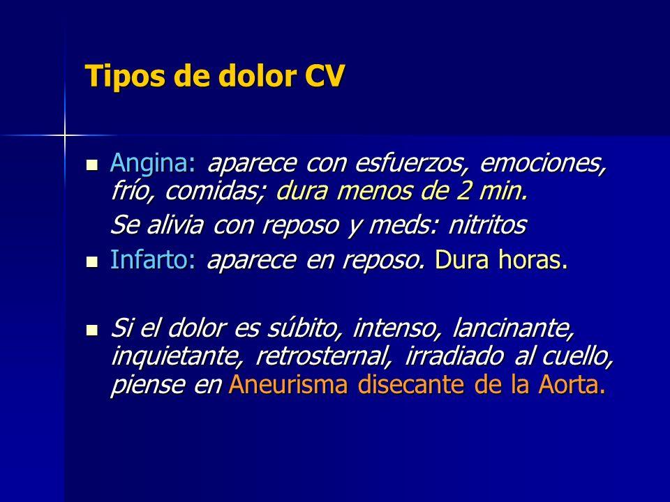 Tipos de dolor CV Angina: aparece con esfuerzos, emociones, frío, comidas; dura menos de 2 min. Angina: aparece con esfuerzos, emociones, frío, comida