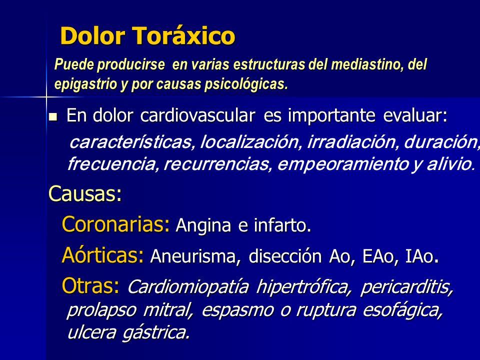 Dolor Toráxico En dolor cardiovascular es importante evaluar: En dolor cardiovascular es importante evaluar: características, localización, irradiació