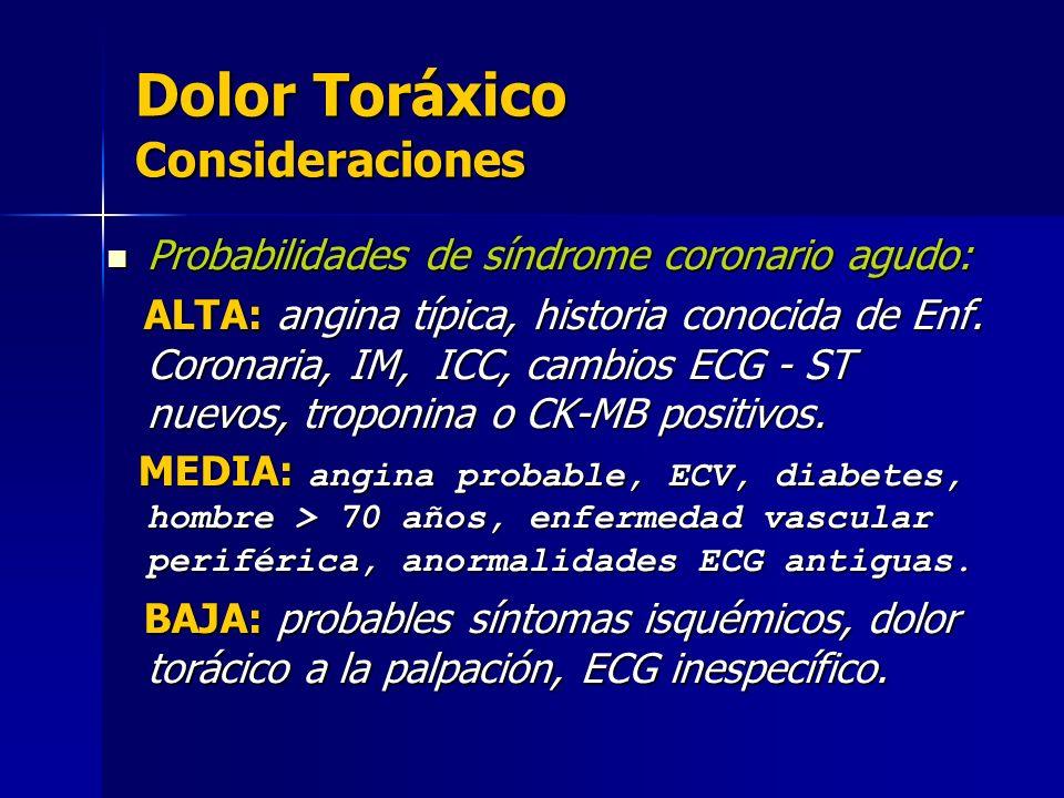 Dolor Toráxico Consideraciones Probabilidades de síndrome coronario agudo: Probabilidades de síndrome coronario agudo: ALTA: angina típica, historia c
