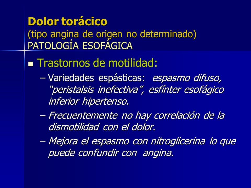 Dolor torácico (tipo angina de origen no determinado) PATOLOGÍA ESOFÁGICA Trastornos de motilidad: Trastornos de motilidad: –Variedades espásticas: es