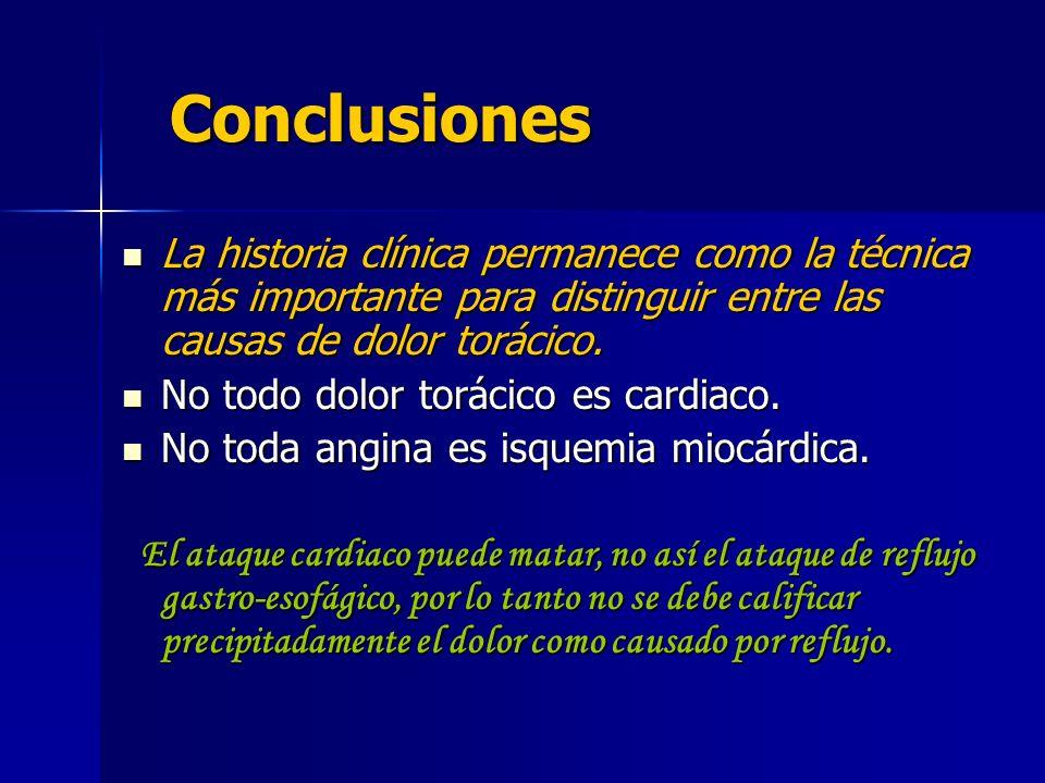 Conclusiones La historia clínica permanece como la técnica más importante para distinguir entre las causas de dolor torácico. No todo dolor torácico e