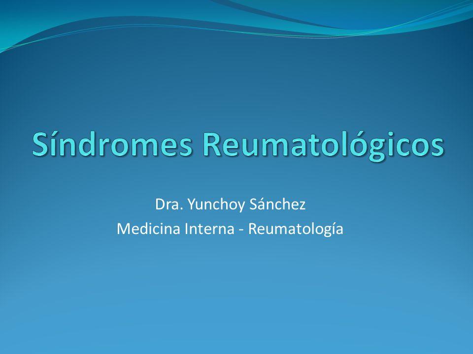 Síndrome CARACTERÍSTICASÍNDROME INFLAMATORIOSÍNDROME MECÁNICO Rigidez matutina> 1 h< 30 min FatigaProfundaMínima ActividadMejora los síntomasEmpeora los síntomas ReposoEmpeora los síntomasMejora los síntomas Afección SistémicaSíNo Respuesta a corticoesteroides SíNo Conjunto de signos y síntomas que se originan por diferentes etiologias