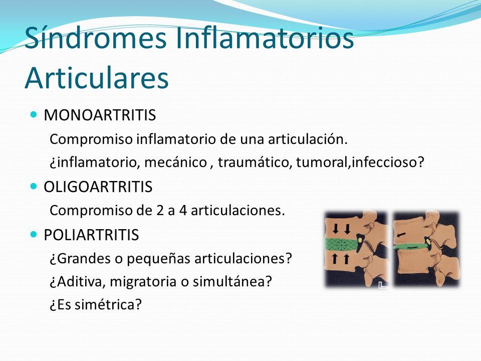 Síndromes Inflamatorios Articulares MONOARTRITIS Compromiso inflamatorio de una articulación. ¿inflamatorio, mecánico, traumático, tumoral,infeccioso?