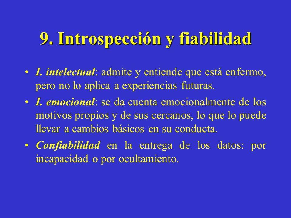9. Introspección y fiabilidad I. intelectual: admite y entiende que está enfermo, pero no lo aplica a experiencias futuras. I. emocional: se da cuenta