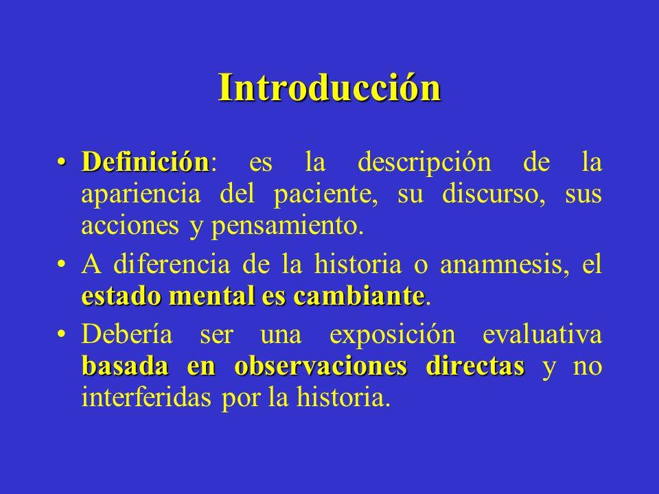 Introducción DefiniciónDefinición: es la descripción de la apariencia del paciente, su discurso, sus acciones y pensamiento. estado mental es cambiant