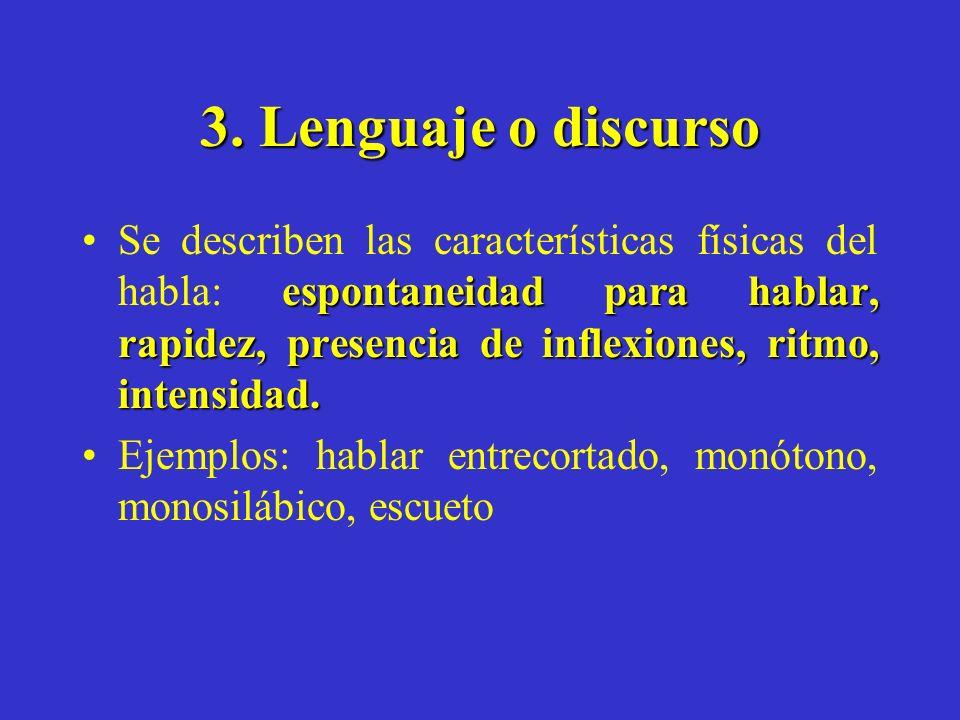 3. Lenguaje o discurso espontaneidad para hablar, rapidez, presencia de inflexiones, ritmo, intensidad.Se describen las características físicas del ha