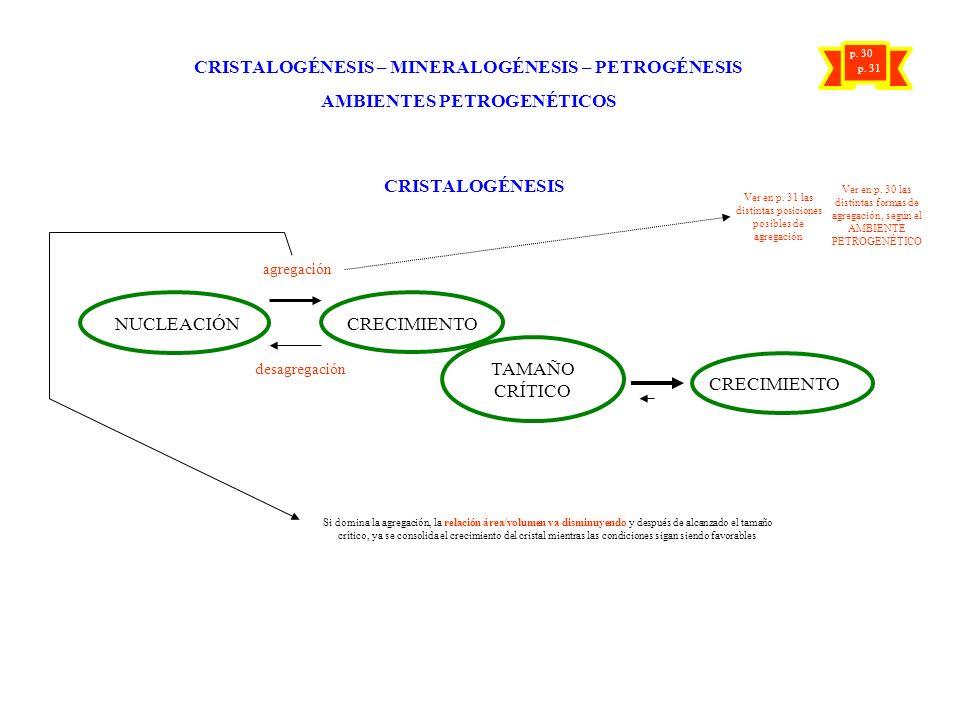 CRISTALOGÉNESIS – MINERALOGÉNESIS – PETROGÉNESIS AMBIENTES PETROGENÉTICOS CRISTALOGÉNESIS NUCLEACIÓN CRECIMIENTO TAMAÑO CRÍTICO CRECIMIENTO agregación