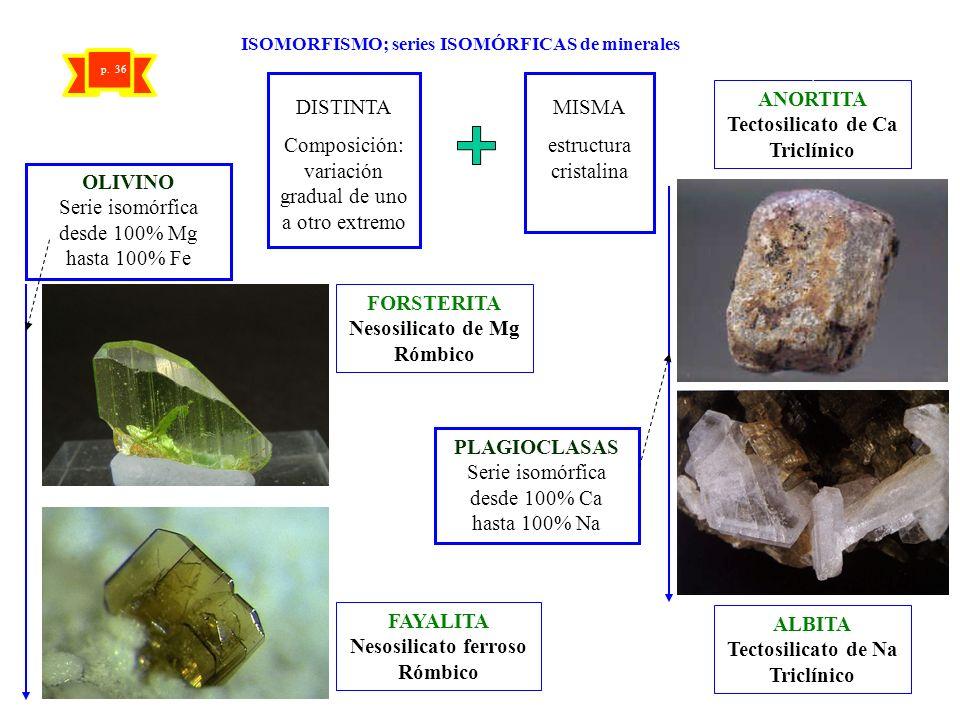 ISOMORFISMO; series ISOMÓRFICAS de minerales DISTINTA Composición: variación gradual de uno a otro extremo MISMA estructura cristalina FORSTERITA Neso