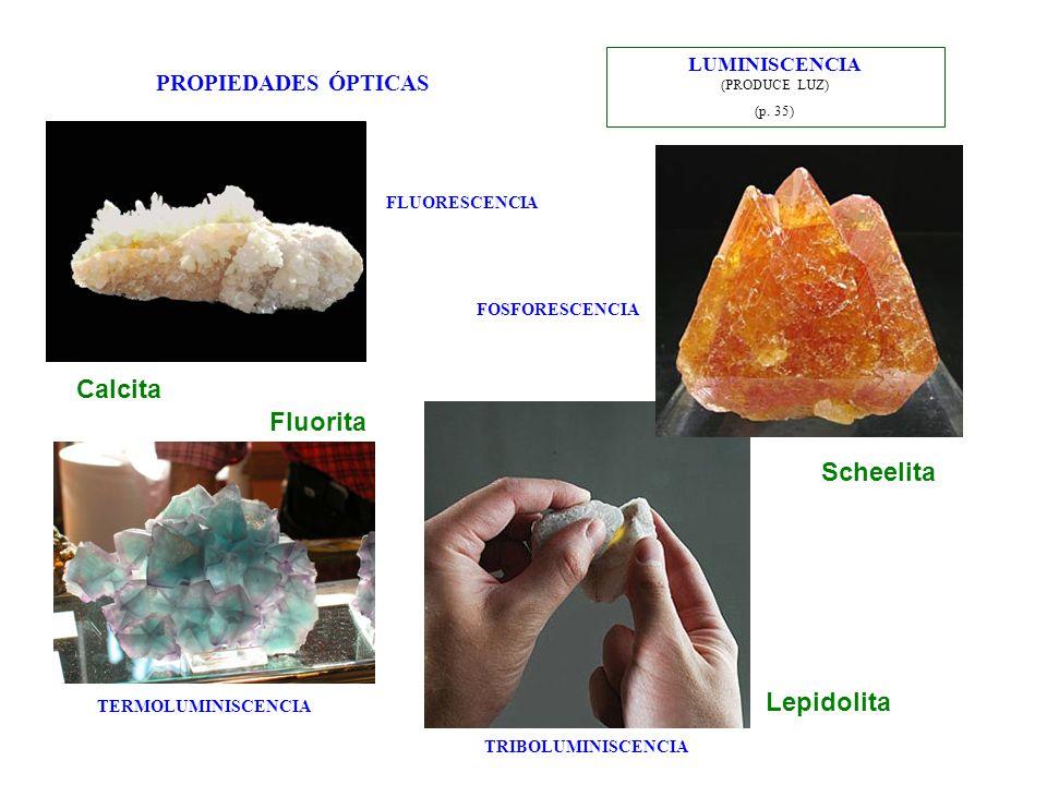 PROPIEDADES ÓPTICAS LUMINISCENCIA (PRODUCE LUZ) (p. 35) Fluorita Scheelita Calcita Lepidolita FLUORESCENCIA FOSFORESCENCIA TERMOLUMINISCENCIA TRIBOLUM