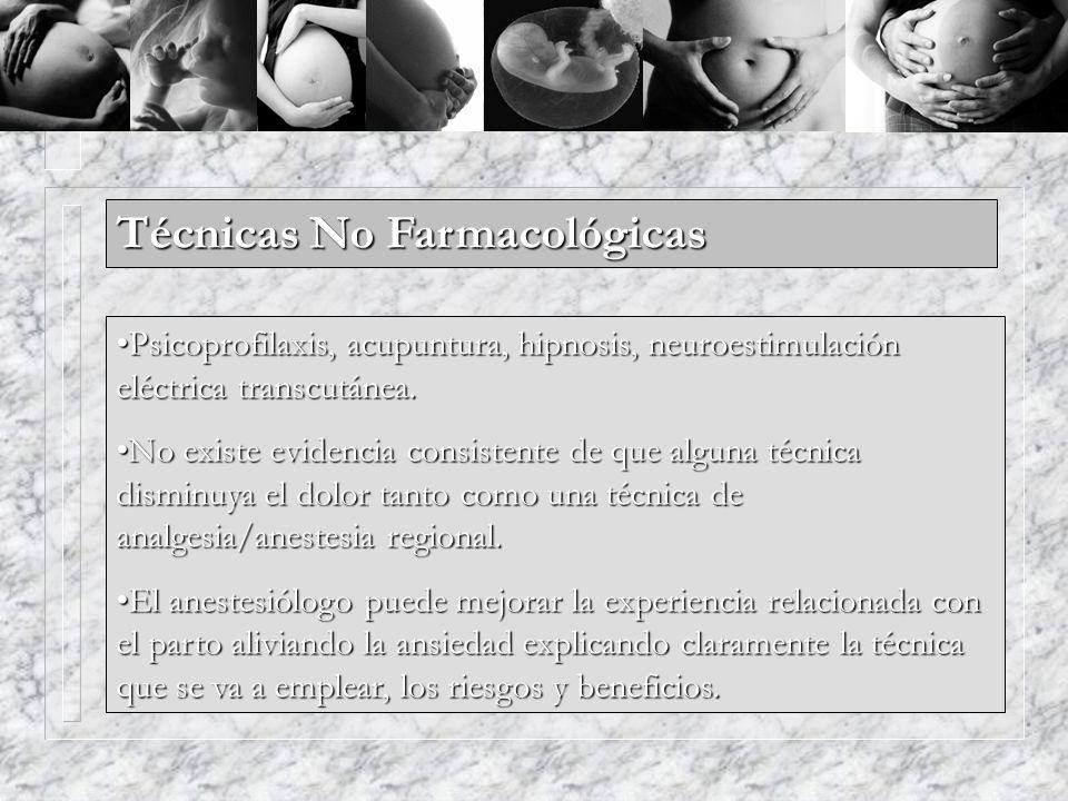Técnicas No Farmacológicas Psicoprofilaxis, acupuntura, hipnosis, neuroestimulación eléctrica transcutánea.Psicoprofilaxis, acupuntura, hipnosis, neur